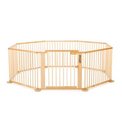 ONE4all 1+7 - Octogon - XXL Parc / playpen,  natural (Birchwood varnished)
