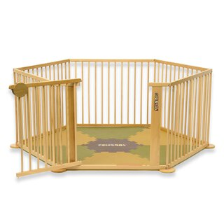 Toddler all-in-one package consisting of the playpen Strolch® 1+5 in natural wood and the ¡Mattimo! baby mat in brown/olive