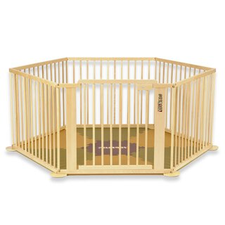 Toddler all-in-one package consisting of the playpen ONE4all 1+5 in natural wood and the ¡Mattimo! baby mat in brown/olive